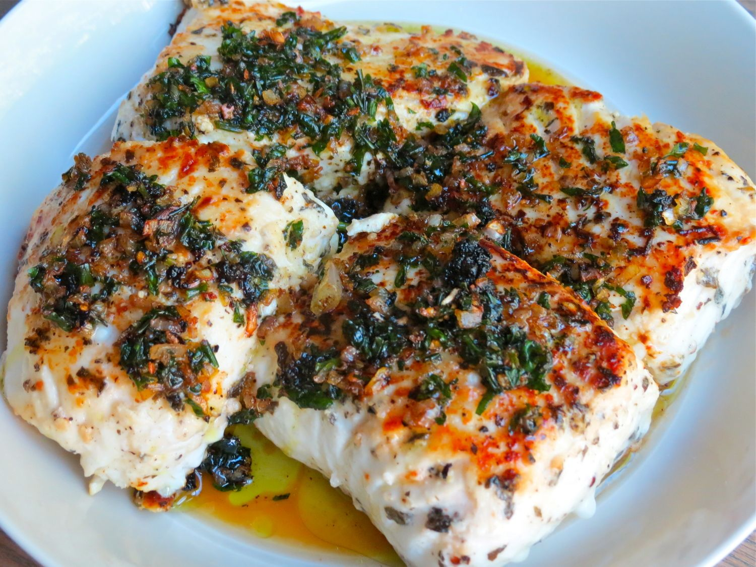 Pan Seared Halibut With Butter Herb Sauce Eat Halibut Recipes