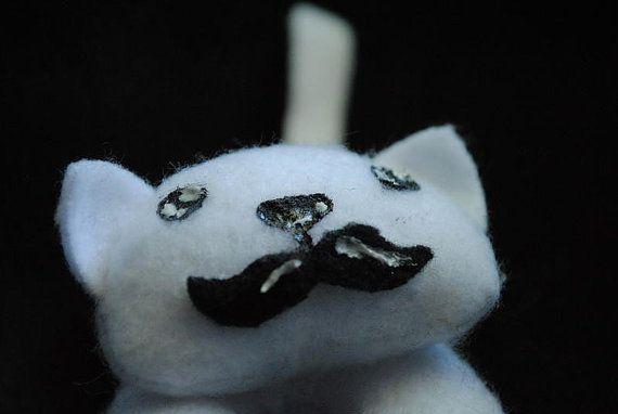 Mustache Kitty  Miniature Plush Dapper Cat Made by WonkyCritters, $9.00