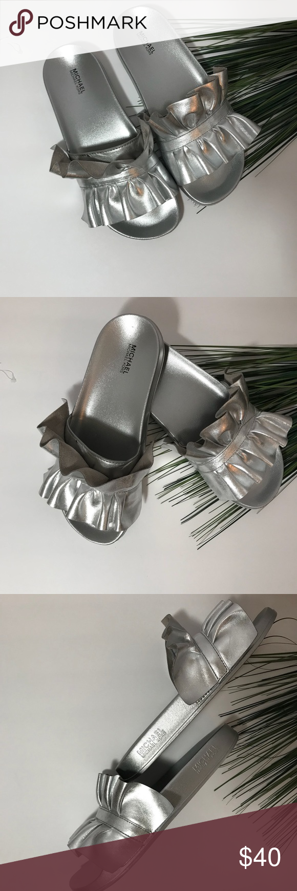 6c04b67e71bb MICHAEL Michael Kors Bella Metallic Sport Slide New without a Box Size 9  Slide  Sandal in metallic leather with ruffled trim. Logo embossing Open  toe Molded ...