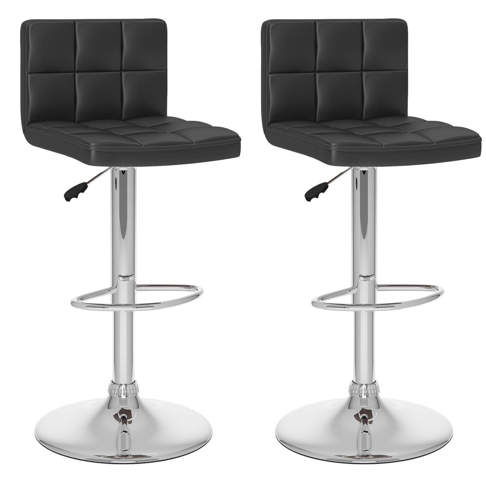 Set Of 2 Adjustable High Back Leatherette Barstool Corliving Adjustable Bar Stools High Back Bar Stools Bar Stools