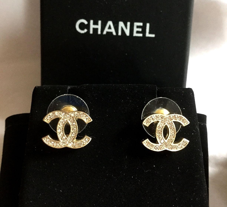 Chanel Cc Crystal Gold Stud Earrings Mini Classic Hallmark Authentic Nib