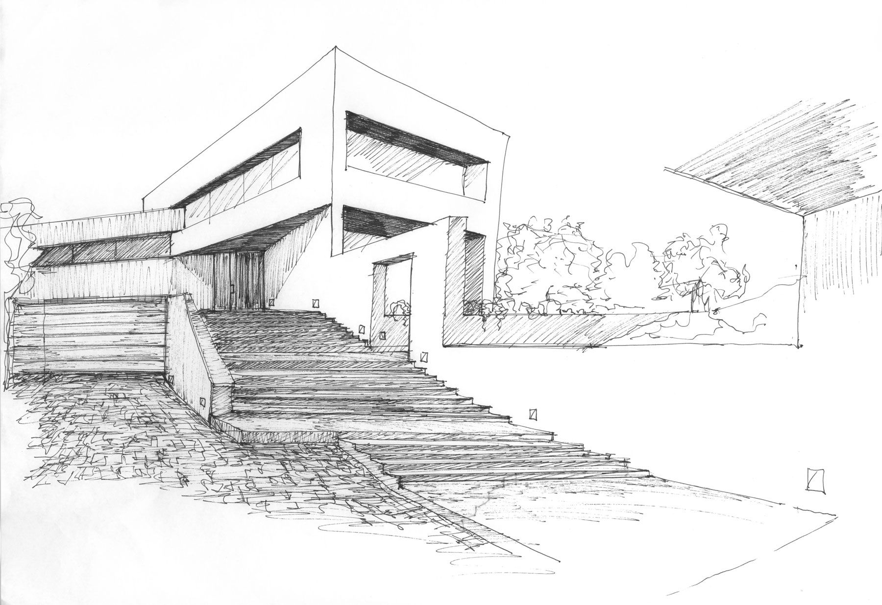 Valdemorillo residence modern architecture sketches for Architecture house drawing