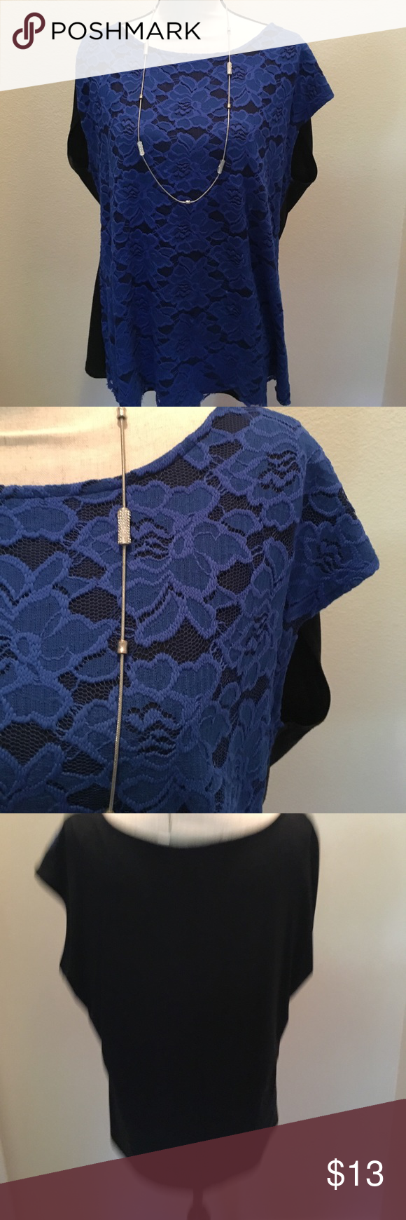 Royal blue lace top Beautiful. New York & Company royal blue lace top in front, all black in back. Perfect to dress up or wear casually. Size is extra large. Offers Welcome. Buy 2 or more items in closet and save 10% New York & Company Tops Blouses