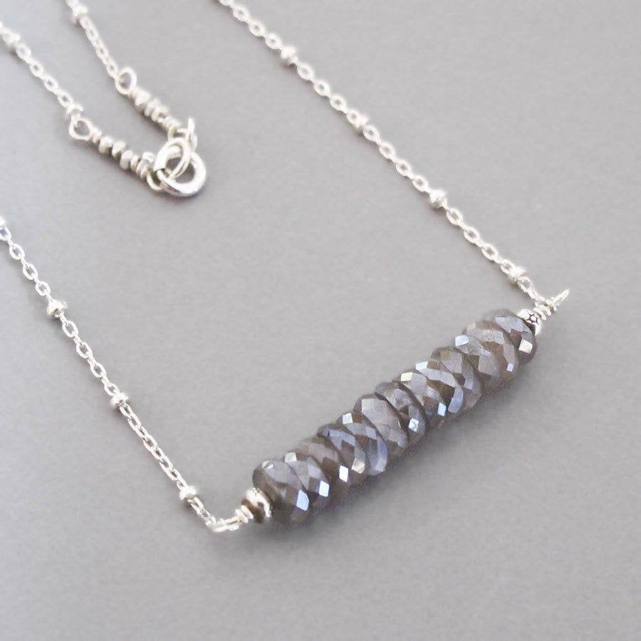 Gift set with sterling silver long and short chain necklace with Herkimer diamond trio and sterling herkimer diamond hoops