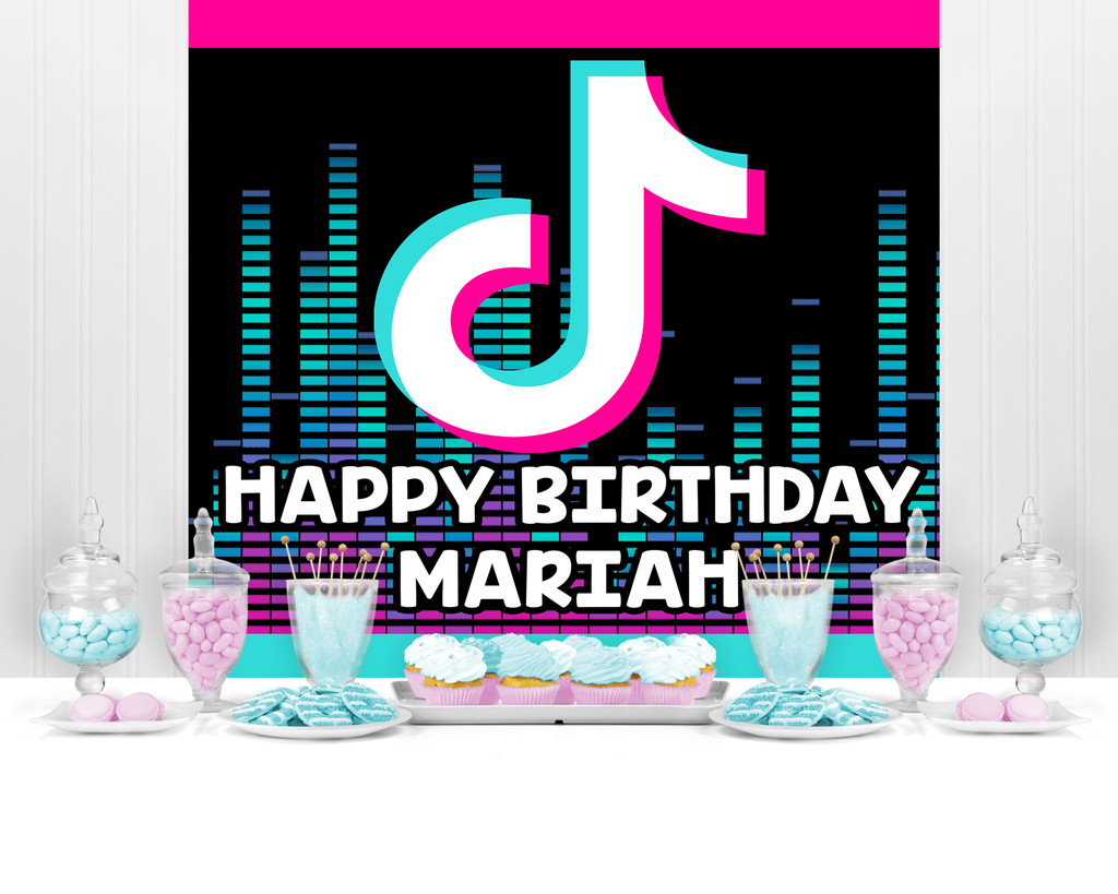 TIK Tok Birthday Banner TIK Tok Backdrop TIK Tok Party Decorations Music Note Sign Flags Decor Themed Party Decoration Shot Video Fans for Musical Party Sharing Celebration Birthday Party Supplies