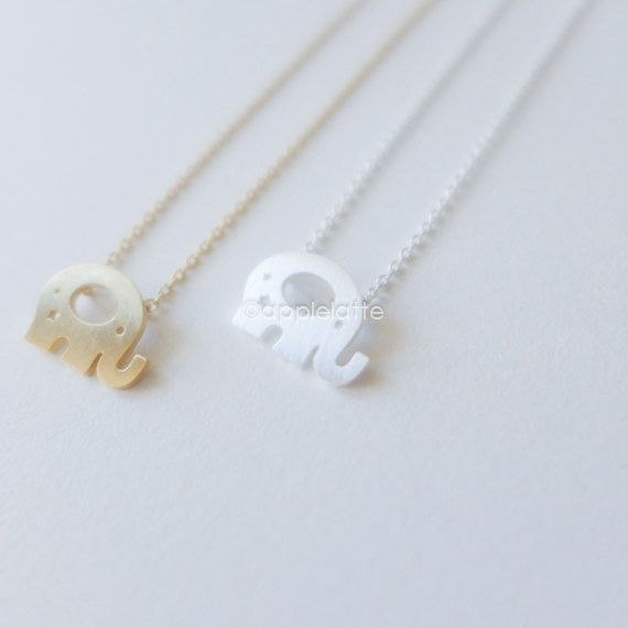 tiny elephant necklace in gold or silver by applelatte on Etsy