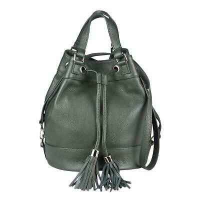 Photo of ITAL DAMEN LEDER TASCHE Bucket Bag Shopper Schultertasche Umhängetasche Fransen…