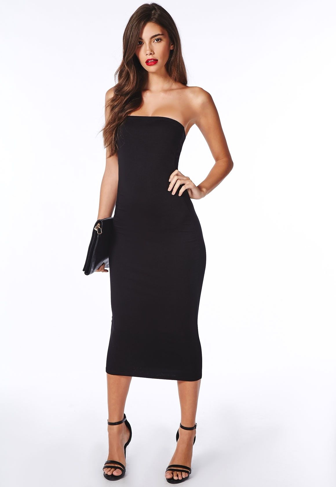 3187ebddd3 Missguided - Strapless Jersey Bodycon Midi Dress Black Getting this sexy  number this week
