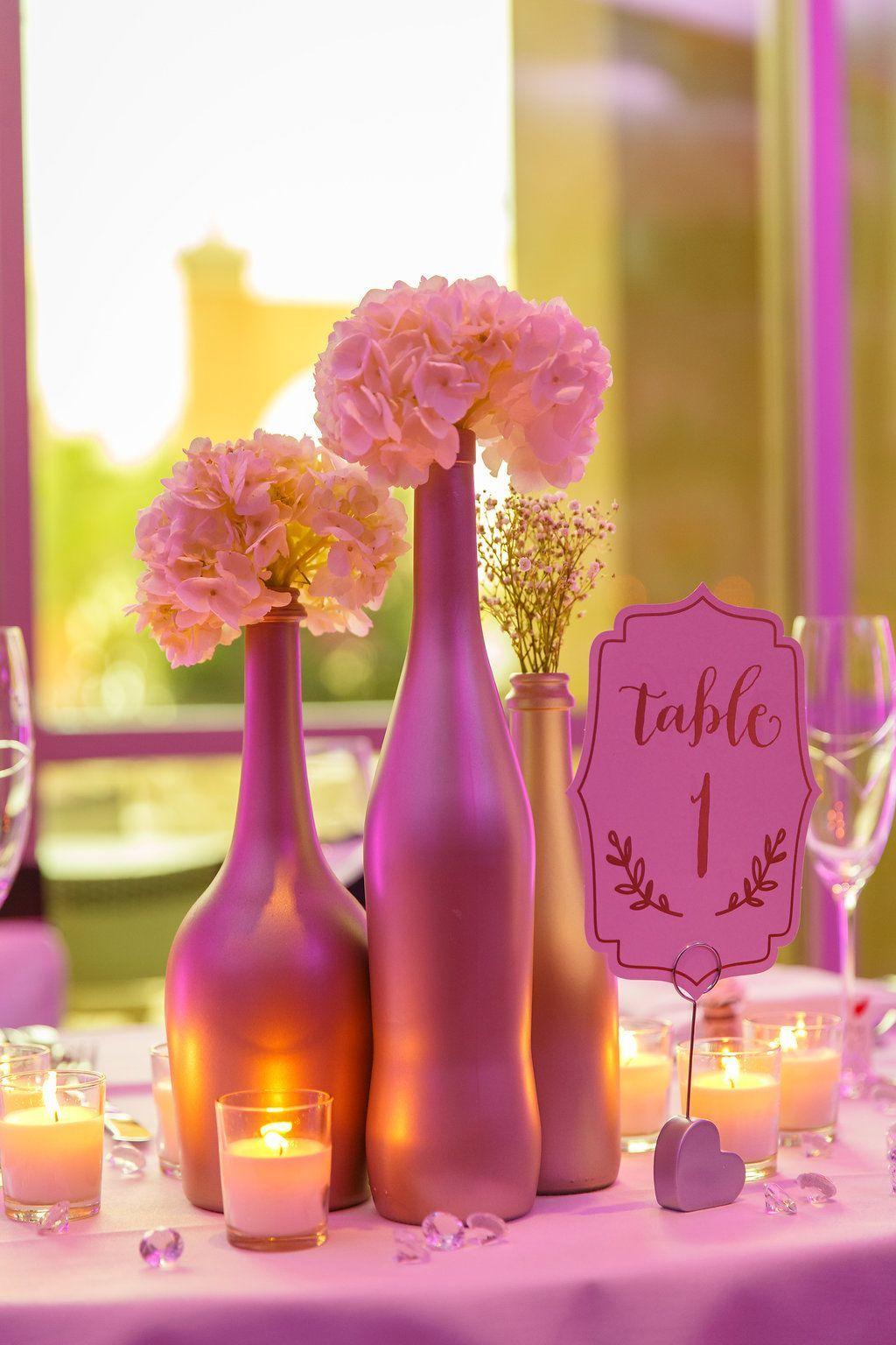 Wedding Reception Metallic Painted Bottle Centerpiece with White ...