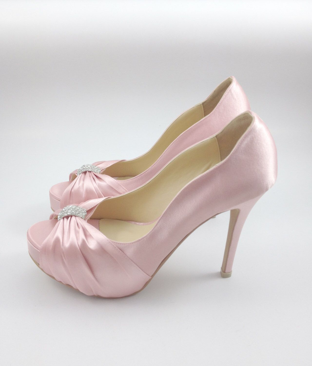 Sweet Pink Wedding Shoes with Rhinestones, Pastel Pink Bridal Shoes ...
