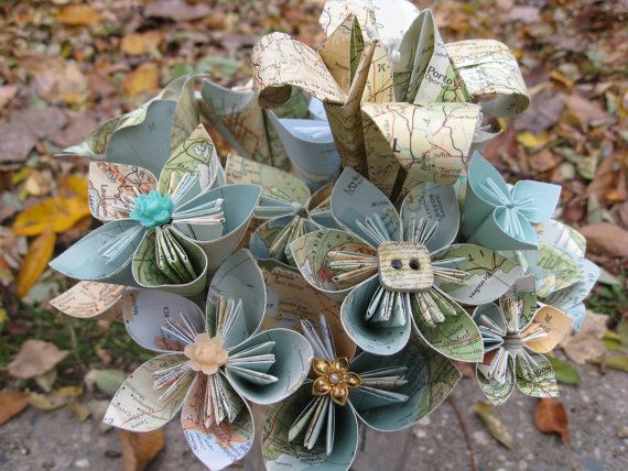 Vintage Map Paper Flower Bouquet World Map  Teal by TreeTownPaper, $50.00