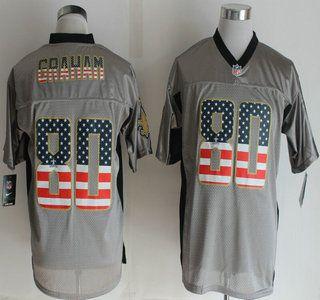 Nike New Orleans Saints Jersey 80 Jimmy Graham 2014 USA Flag Fashion Grey  Shadow Elite Jerseys a8706a5f1