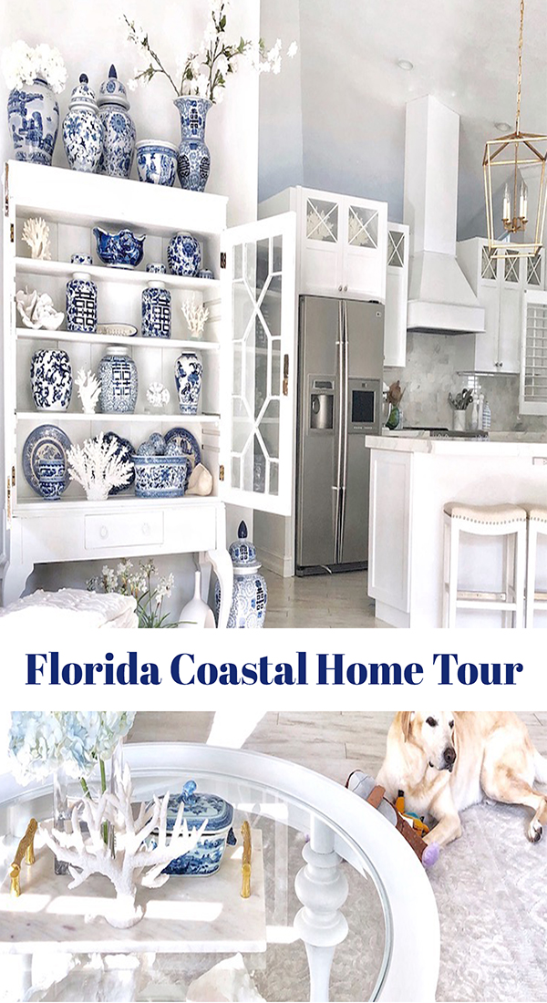 The Florida coastal home tour featured today is truly beautiful! This Gulf coast home is decorated with white carrara marble, blue accents of chinoiserie and beach cottage abstract art. Come see more! #beachhome #coastalhometour #coastalliving #beachart #coastalart #floridacoastalhomes #brightwhitehomes #sff225