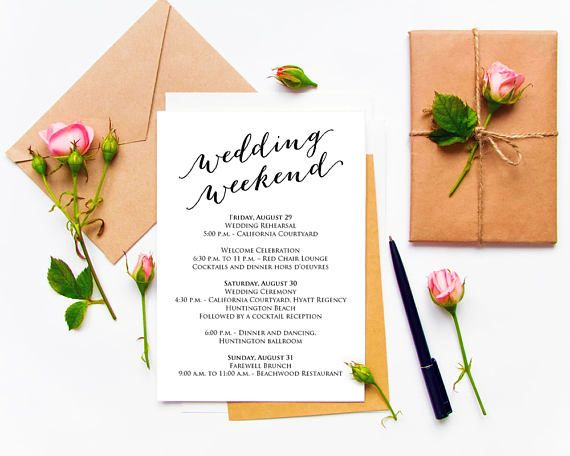 Wedding Weekend Itinerary Invitation Template Instantly Download