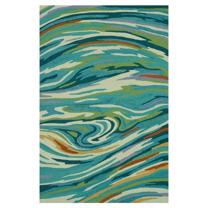 Aqua Blue Area Rug Print With White Orange Lime Green And Deep Swirls