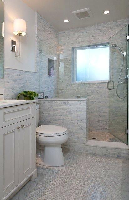 Walk In Shower Tile Ideas Half Wall Like The Not Bathroom Niche Insert Bathroom Remodel Designs Bathroom Remodel Shower Tiny House Bathroom