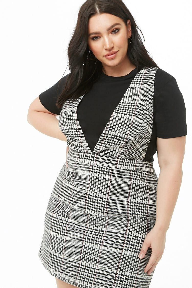 Plus Size Houndstooth Pattern Pinafore Dress in 2019 | f21 new new ...