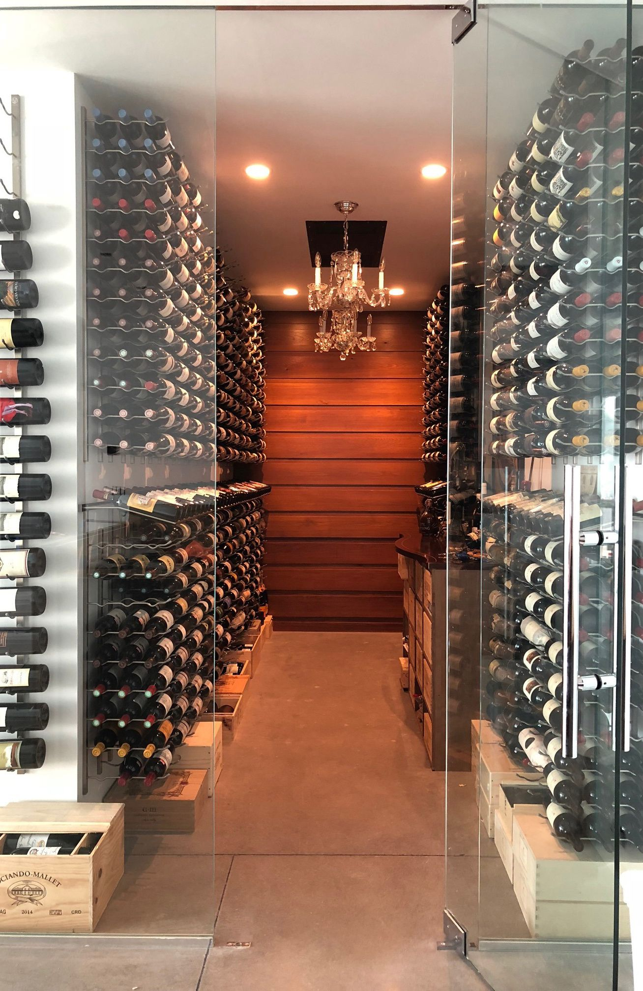 This Is A New Space In The Client S Home With The Vintage View Racking System The Cellar Holds Around 1 300 Home Wine Cellars Wine Cellar Design Cellar Design