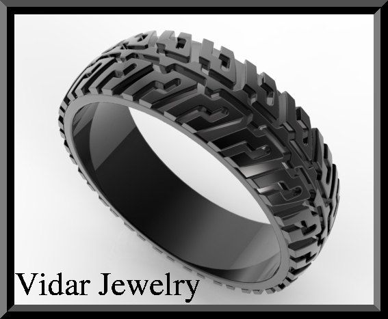 mens tire tread wedding ring unique black gold ring design on etsy 117500 - Black Wedding Rings For Him