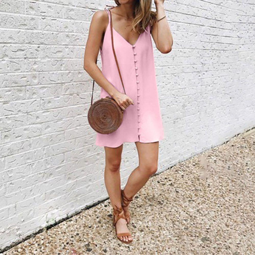 Pink Spaghetti Strap Summer Dress Women V-Neck Beach Dress Button Ladies Mini Dress Vetement Femme 2019