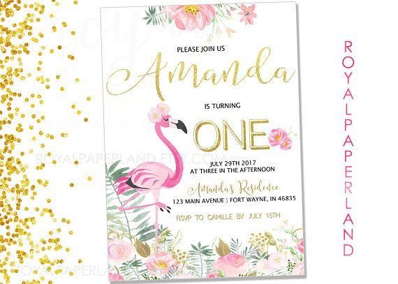 Flamingo Birthday Party Invitation Pineapple theme Blakely\u0027s 6th