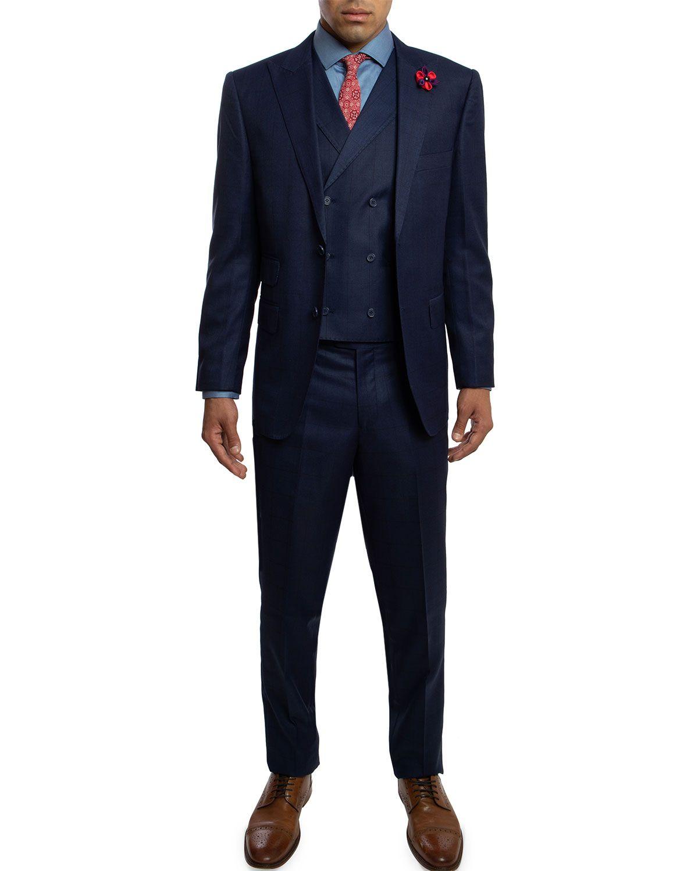 English Laundry Men S Slim Fit Three Piece Suit Blue Englishlaundry Cloth Slim Fit Men Three Piece Suit Slim Man [ 1500 x 1200 Pixel ]