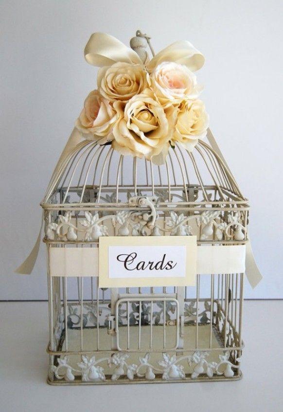 Custom Large Wedding Bird Cage Card Holder Money Ivory Champagne Via