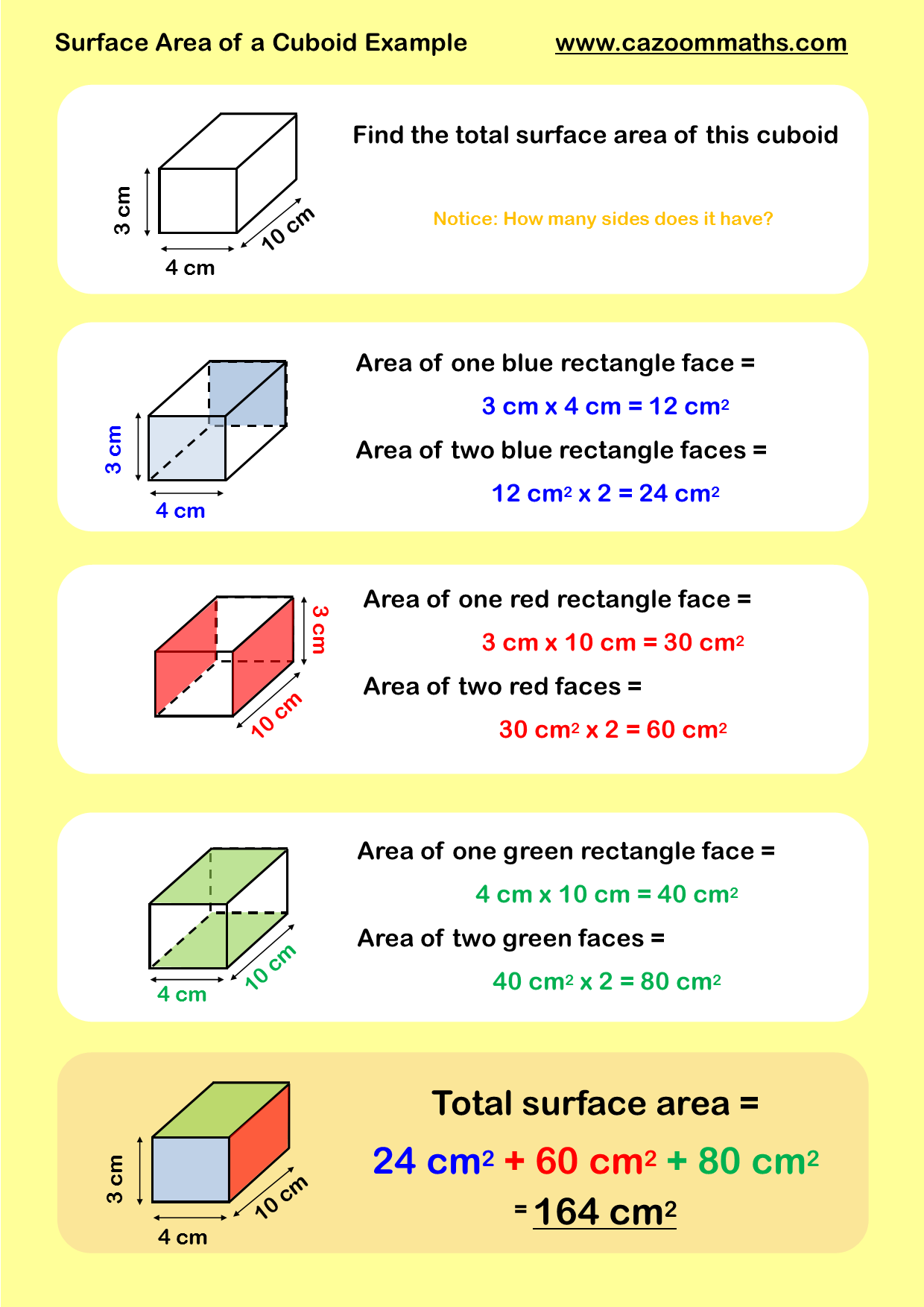 Surface Area Of A Cuboid Example