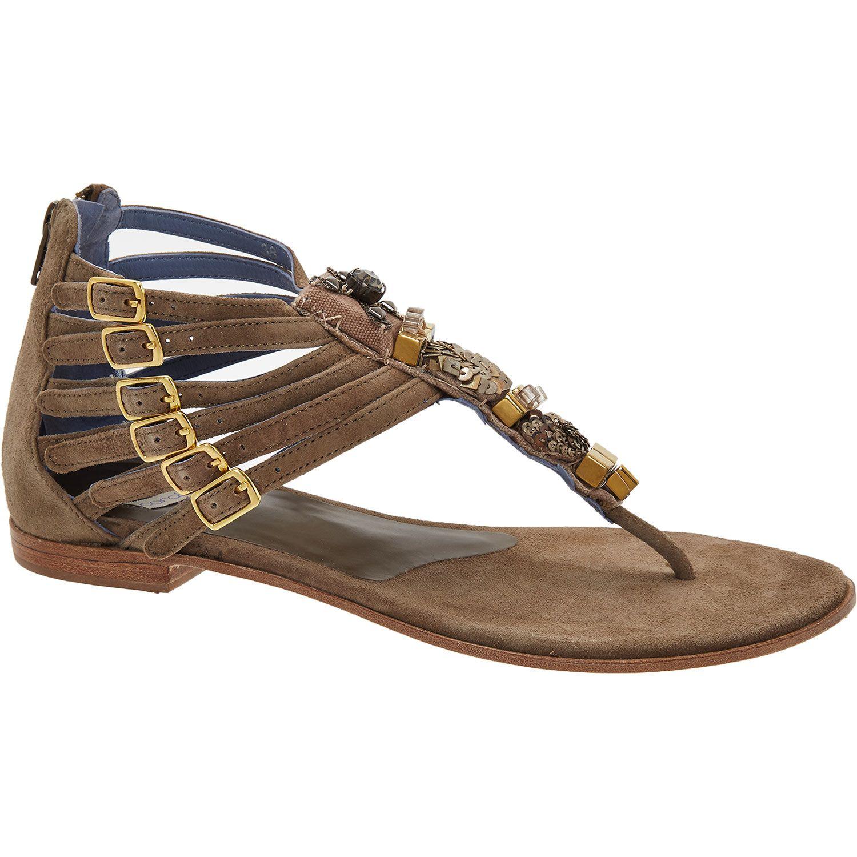 """Coral Blue"" Taupe Embellished Gladiator Sandals - TK Maxx"