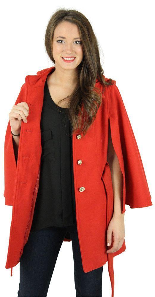 Jessica Simpson Women S Faux Wool Cape Coat Hooded Jacket