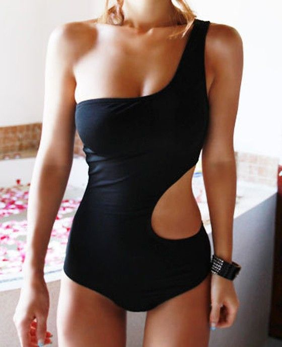 Black Plain Cut Out Asymmetric Shoulder Sexy Swimwear - Swimwear - Tops