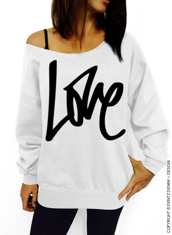 Graffiti Love Sweatshirt - Valentine  Day - White with Silver Slouchy  Oversized Sweatshirt by DentzDenim slouchy sweater off the shoulder 3861d0cfdfa