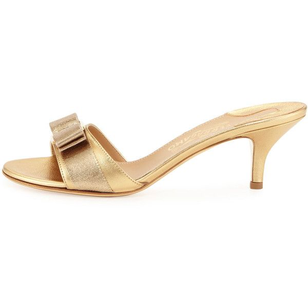 b476b7e8b96be Salvatore Ferragamo Glory Metallic Bow Slide Sandal ( 445) ❤ liked on  Polyvore featuring shoes