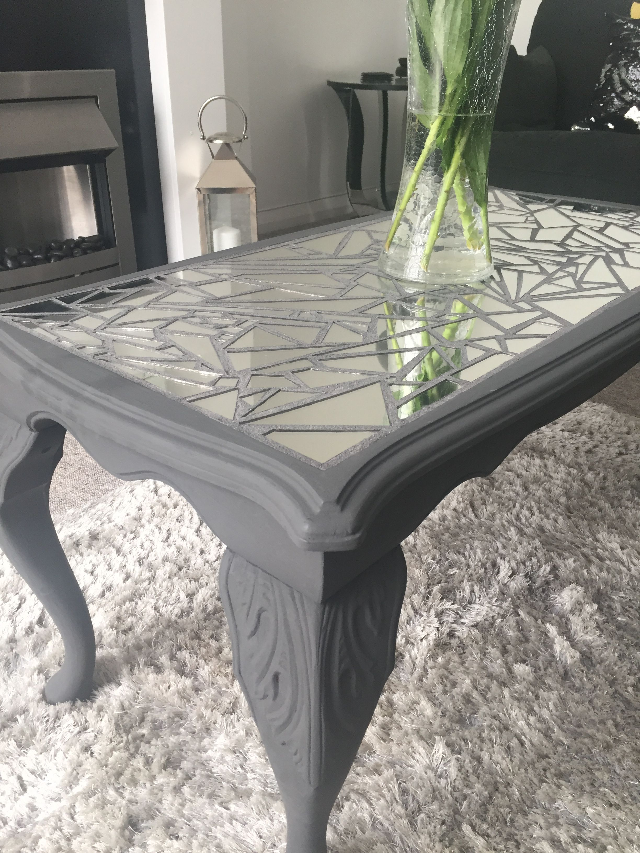 Cracked Mirror Coffee Table Upcycled Coffee Table Mirrored Coffee Tables Table [ 3264 x 2448 Pixel ]