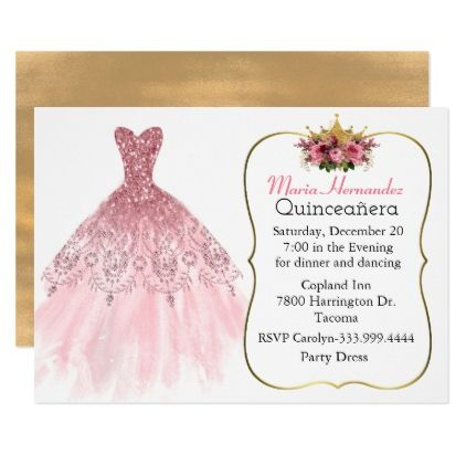 Glitzy Pink Gown Quinceañera Invitation Zazzle glitter