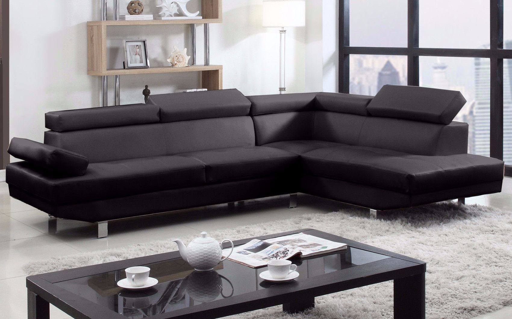 modern bonded leather sectional sofa with recliners mainstays sleeper weight limit albert right chaise products 2pc