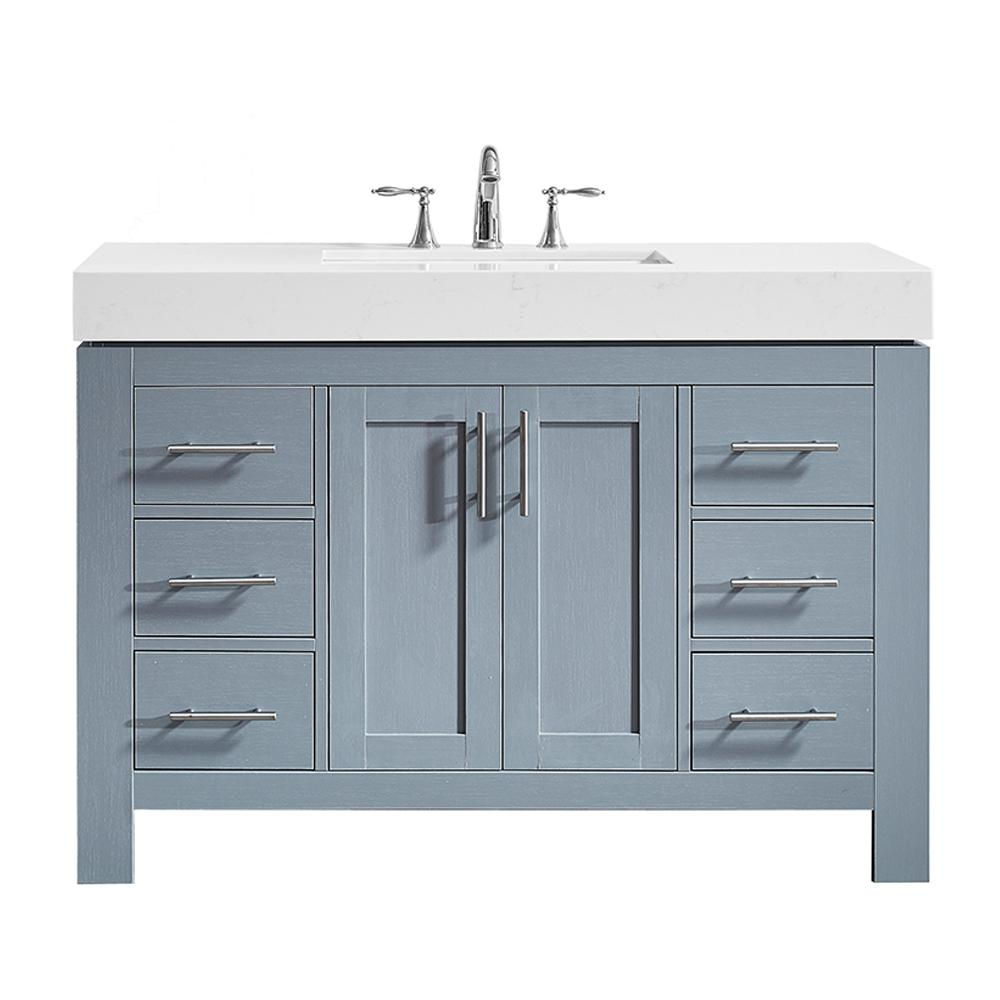 Roswell Essex 48 In W X 22 In D Bath Vanity In Grey With Quartz