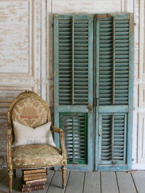 Pair Of Antique Shutters From An Old Villa Vintage Shutters Old Shutters Louvre Doors
