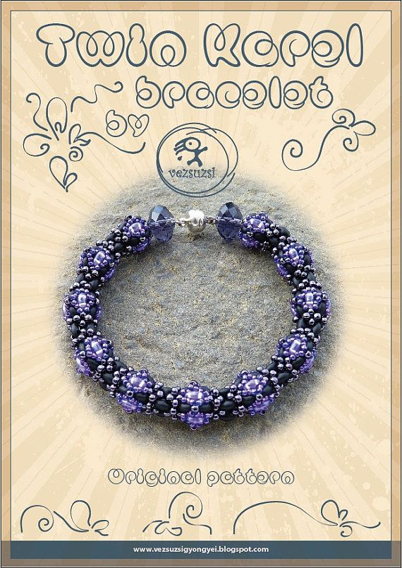 Beading tutorial Bracelet tutorial / pattern Twin Karel with twin beads ..PDF instruction for personal use only