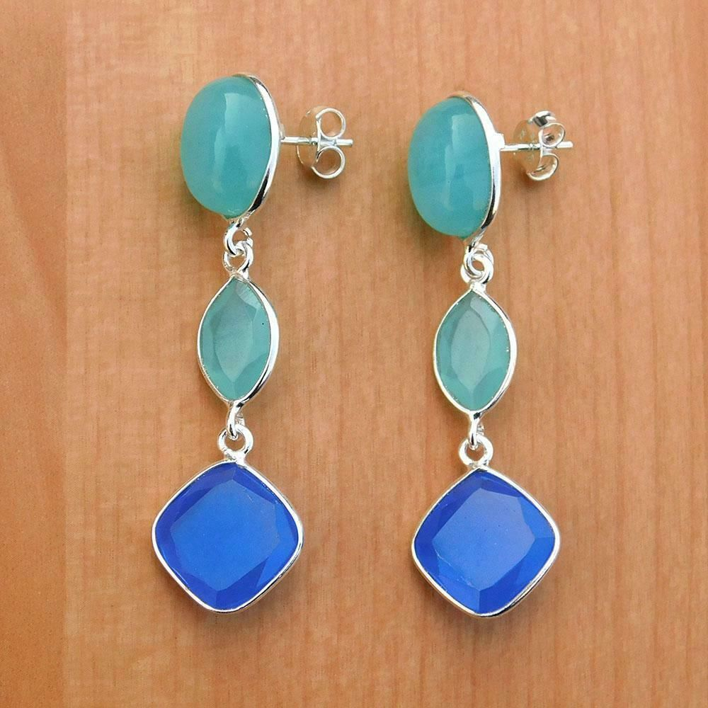Blue  Chalcedony Sterling Silver Earrings natural gemstone small classic everyday dangle drops birthday gift mom wife grandma sister 5601