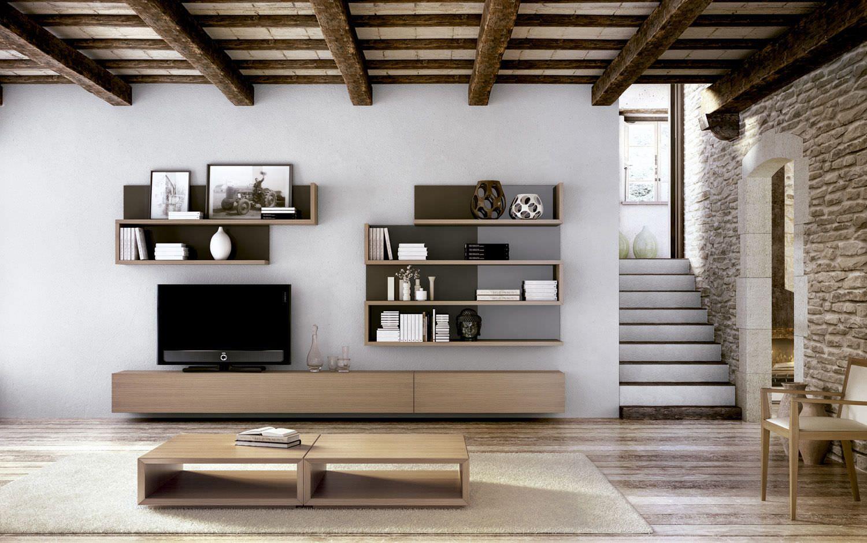 Mueble tv moderno en madera la sala carre furniture - Muebles de madera modernos ...