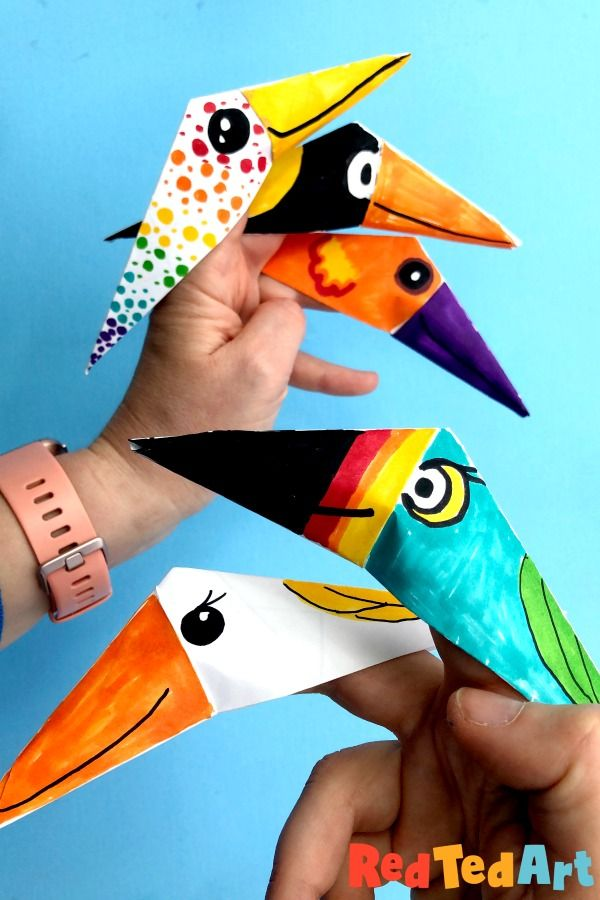 Easy Bird Finger Puppet Origami – Red Ted Art