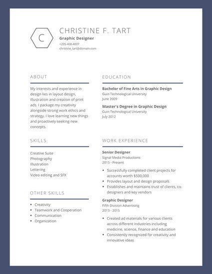 Blue Bordered Graphic Design Resume WORK Pinterest Graphic