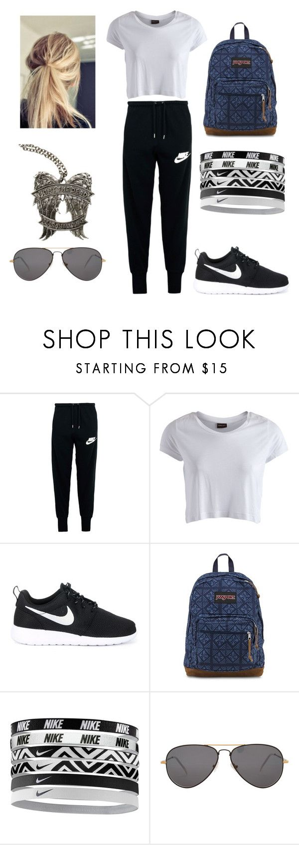 """""""Sin título #492"""" by mechi-caligiuri ❤ liked on Polyvore featuring NIKE, Pieces, JanSport and Sheriff&Cherry"""