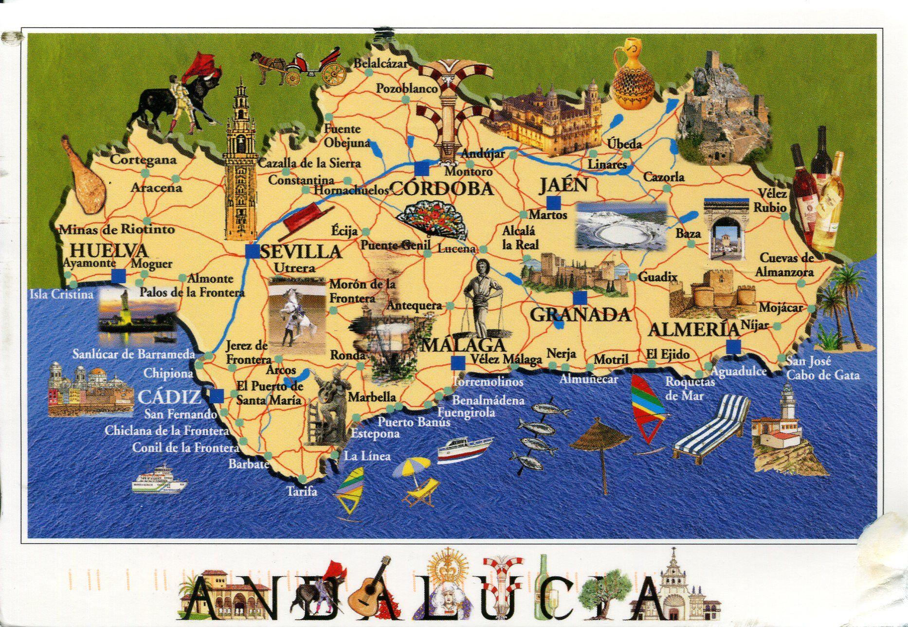 Carte Littoral Andalousie.Carte Touristique Voyage Espagne Andalousie Voyage