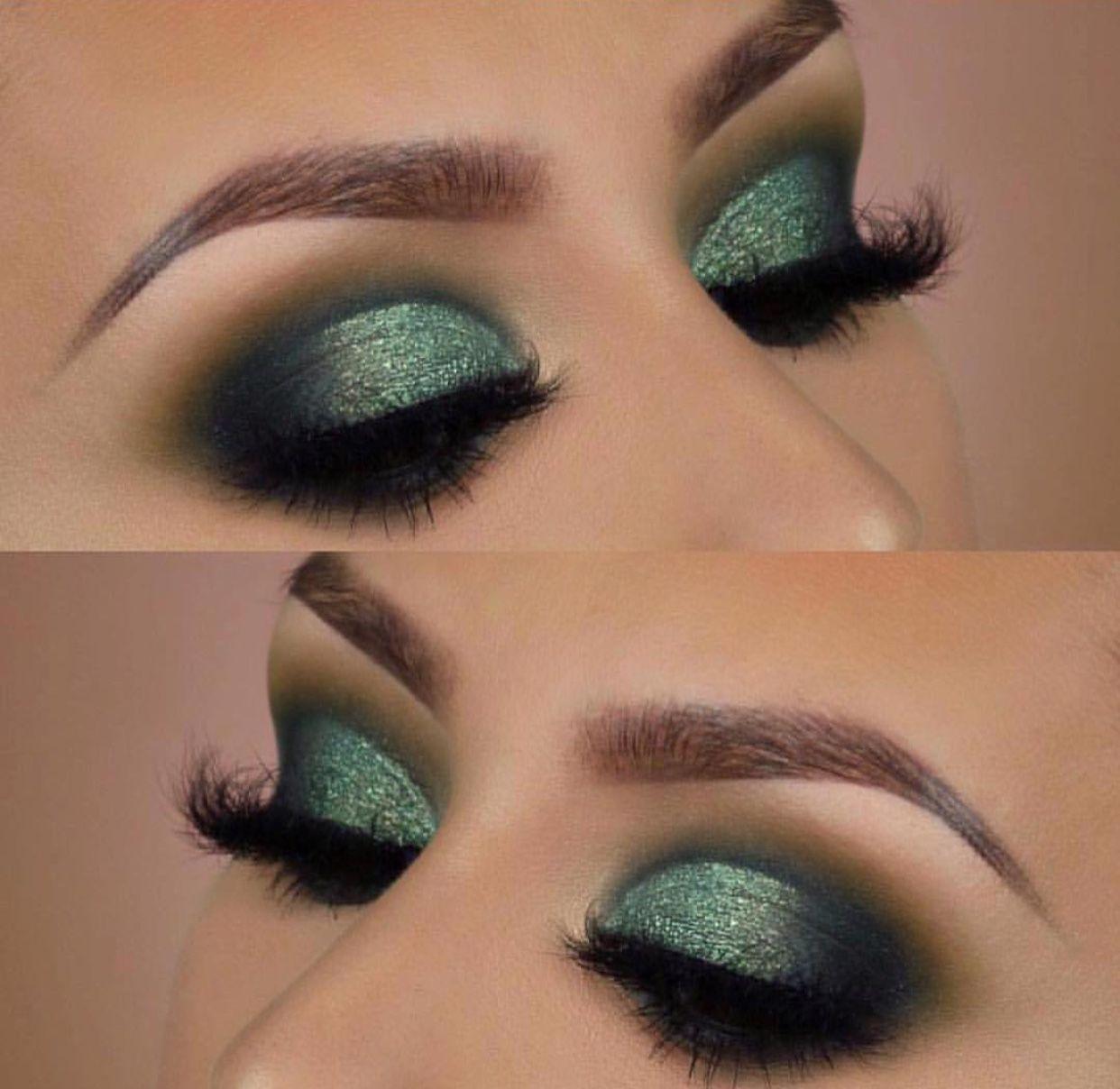 Green glitter eyeshadow Makeup, Smokey eye makeup