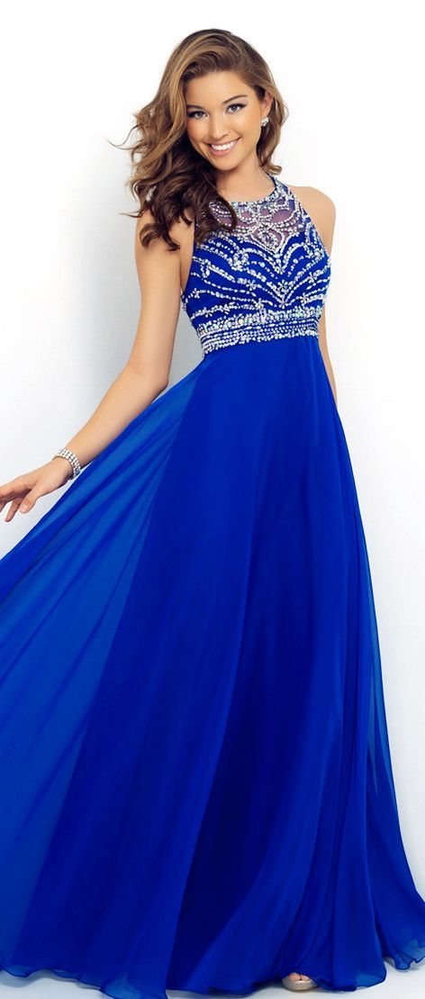 fd02f096f135 blue dresses 6. Royal Blue Prom Dresses Elegant A Line Beaded Halter  Bandage Backless Sparkly New Chiffon ...