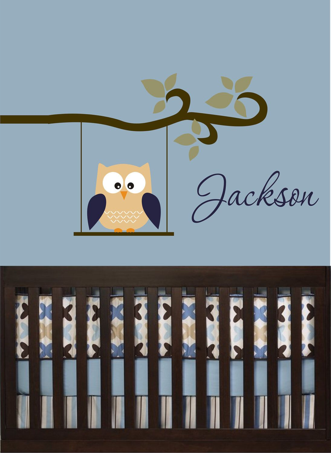 Owl decal monogram childrens wall decals nursery wall decals
