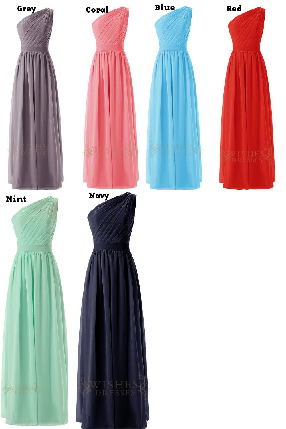 Delicated ruched oneshoulder mint chiffon floor length bridesmaid