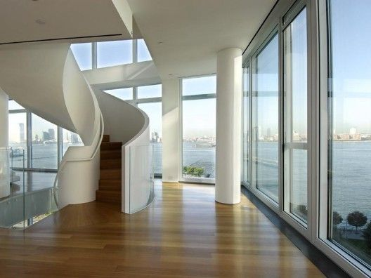 Love. Story goes: sold to Hugh Jackman by techie bigshot Bill Joy for just over $25,000,000. Triplex at Richard Meier's 176 Perry Street, NYC.
